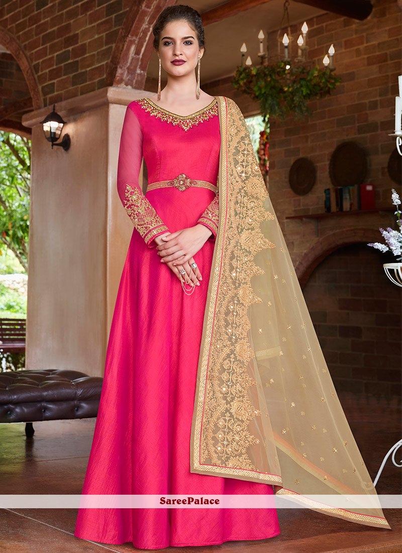 Hot Pink Festival Floor Length Anarkali Suit
