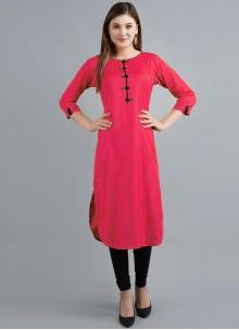 Hot Pink Festival Rayon Party Wear Kurti