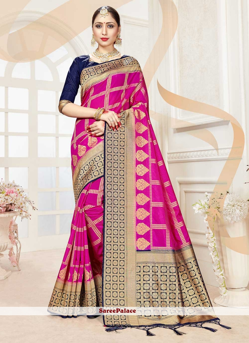 Hot Pink Festival Traditional Saree