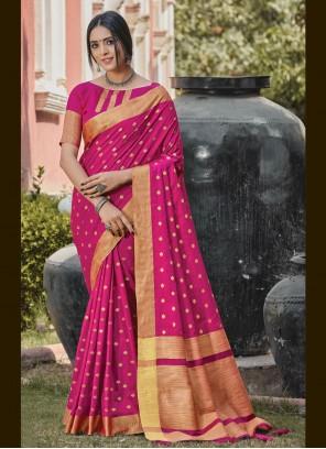 Hot Pink Handloom silk Woven Traditional Designer Saree