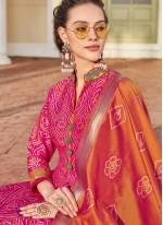 Hot Pink Jacquard Readymade Anarkali Suit