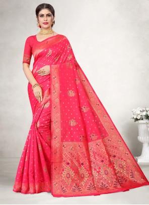 Hot Pink Jacquard Silk Weaving Classic Saree