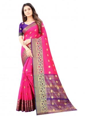 Hot Pink Kanjivaram Silk Ceremonial Designer Traditional Saree