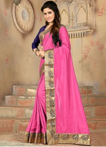 Hot Pink Lace Designer Saree