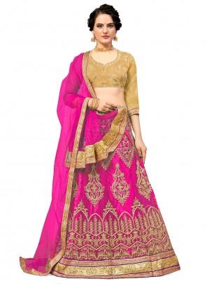 Hot Pink Mehndi Net Lehenga Choli