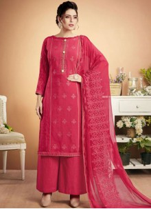 Hot Pink Muslin Embroidered Designer Palazzo Suit