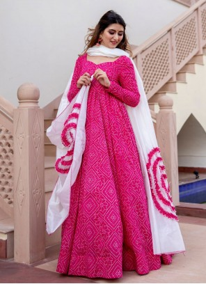 Hot Pink Muslin Readymade Suit
