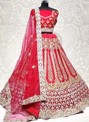 Hot Pink Net Mehndi Lehenga Choli