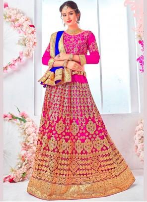 Hot Pink Net Wedding Lehenga Choli