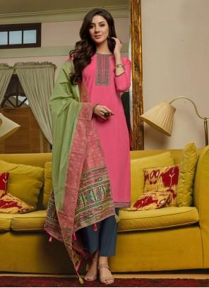 Hot Pink Party Muslin Designer Pakistani Suit