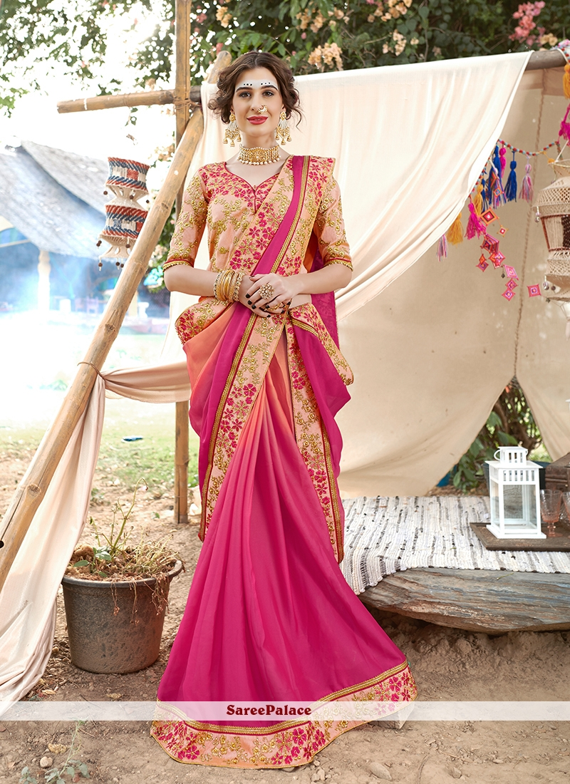 Hot Pink Patch Border Saree