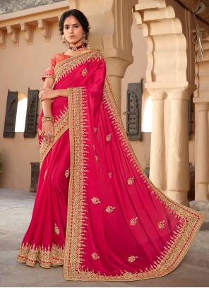 Hot Pink Patch Border Silk Designer Saree