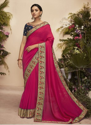 Hot Pink Patch Border Traditional Saree