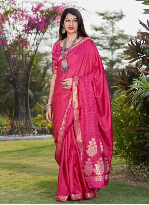 Hot Pink Print Banarasi Silk Traditional Designer Saree