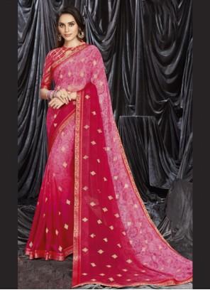Hot Pink Print Shaded Saree