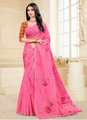 Hot Pink Fancy Fabric Printed Saree
