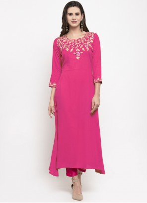 Hot Pink Rayon Party Wear Kurti