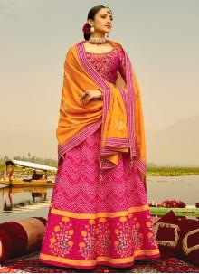 Hot Pink Readymade Lehenga Choli