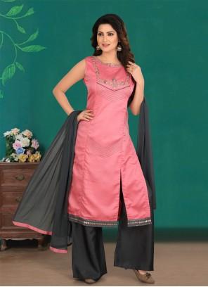 Hot Pink Reception Designer Palazzo Salwar Kameez