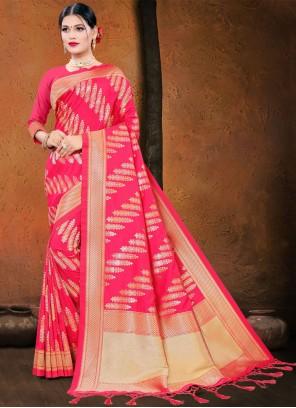 Hot Pink Silk Designer Traditional Saree