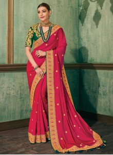 Hot Pink Silk Embroidered Classic Saree