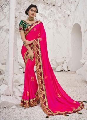 Hot Pink Silk Embroidered Trendy Saree