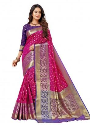 Hot Pink Silk Festival Traditional Designer Saree