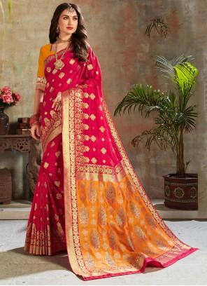 Hot Pink Silk Reception Trendy Saree