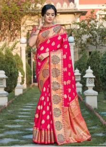 Hot Pink Silk Traditional Designer Saree