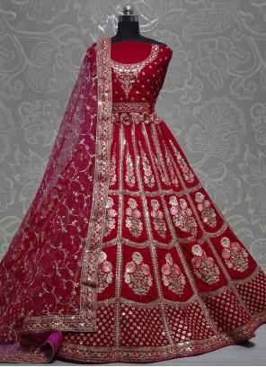 Hot Pink Thread Velvet Lehenga Choli