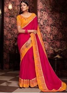 Hot Pink Traditional Saree