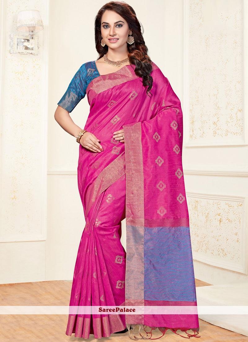 Hot Pink Chanderi Traditional  Saree