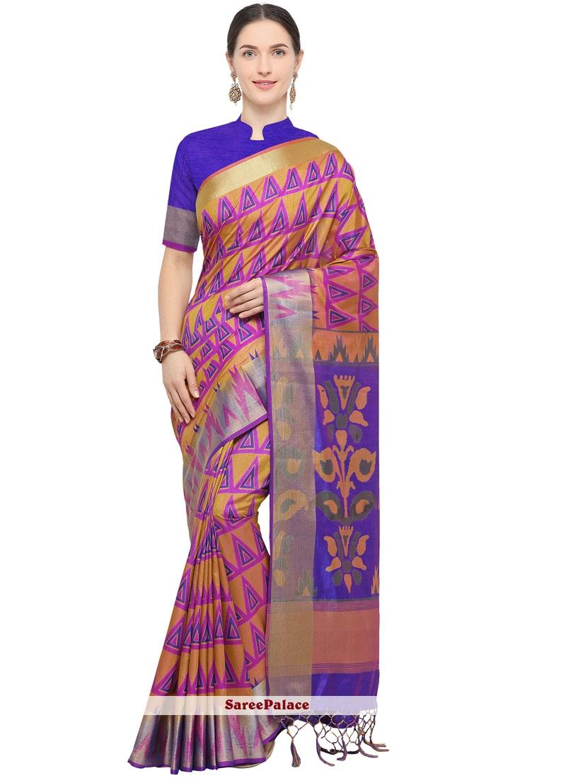 Hot Pink Weaving Art Silk Traditional Saree
