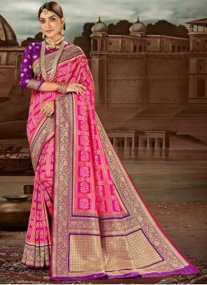 Hot Pink Weaving Banarasi Silk Traditional Designer Saree