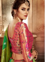 Hot Pink Weaving Bridal Lehenga Choli