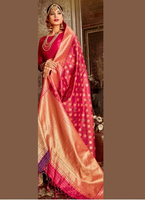 Hot Pink Weaving Festival Traditional Designer Saree