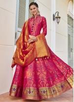 Hot Pink Weaving Readymade Anarkali Suit