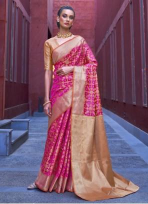 Hot Pink Weaving Traditional Saree