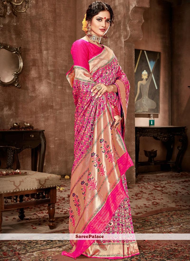 e2e4c04855c126 Buy Hot Pink Weaving Work Banarasi Silk Traditional Designer Saree Online