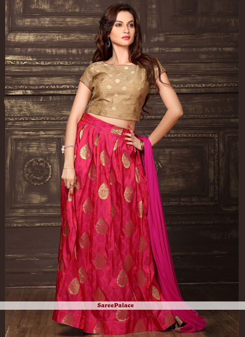 Hot Pink Weaving Work Lehenga Choli