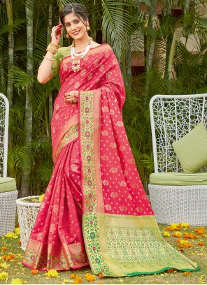 Hot Pink Woven Traditional Saree