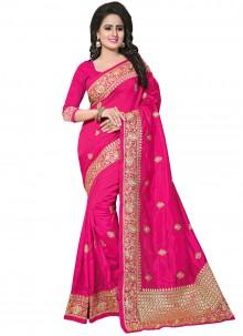 Hot Pink Zari Designer Traditional Saree