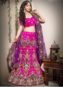 Hot Pink Zari Net Lehenga Choli