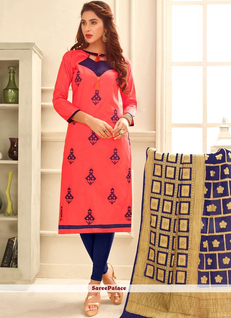 Hypnotic Cotton   Rose Pink Print Work Churidar Suit