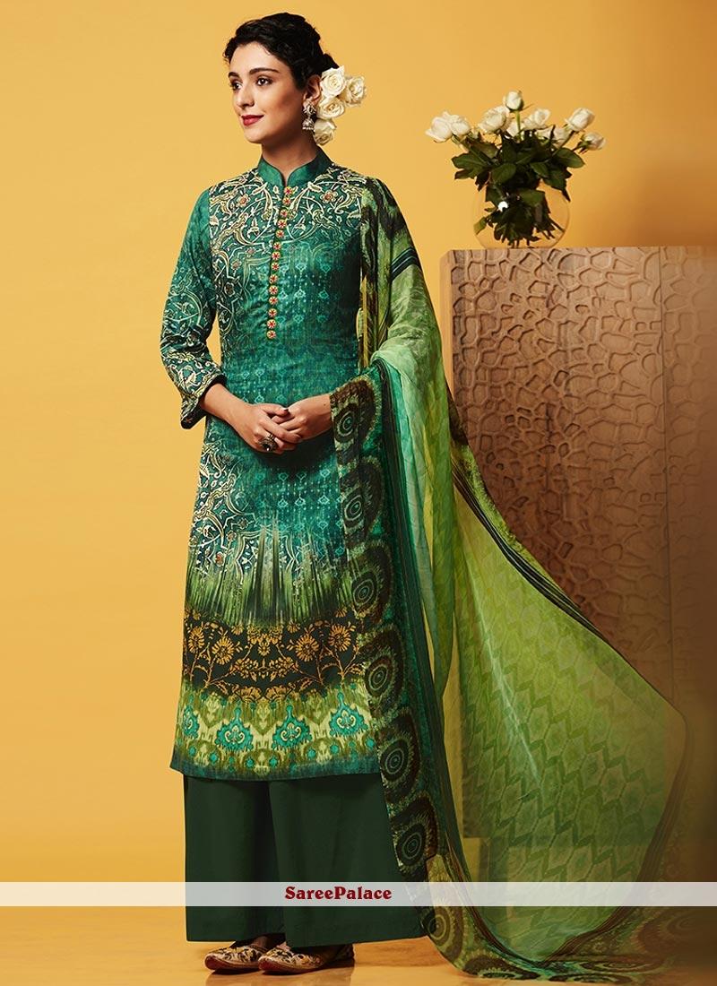 Hypnotic Digital Print Work Green Faux Chiffon Designer Palazzo Suit