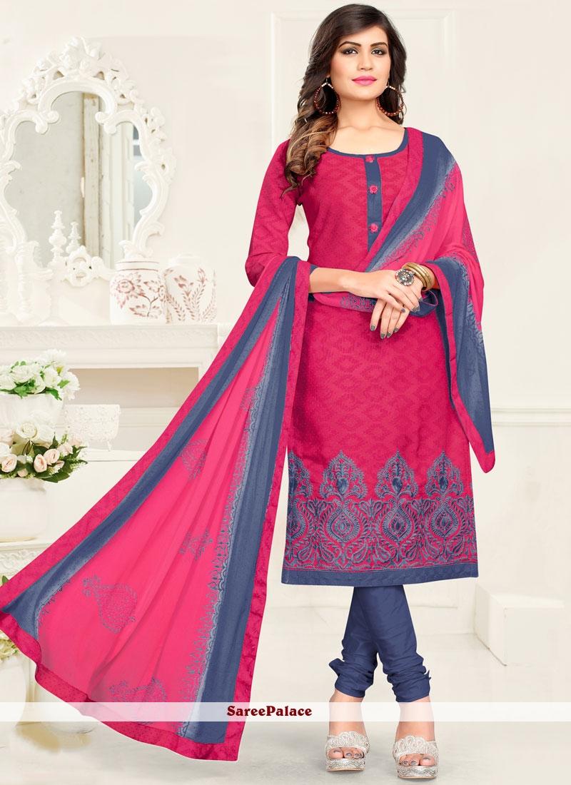 36fd19b0ac Buy Hypnotic Embroidered Work Grey and Pink Salwar Kameez Online