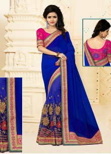 Hypnotic Patch Border Work Designer Half N Half saree