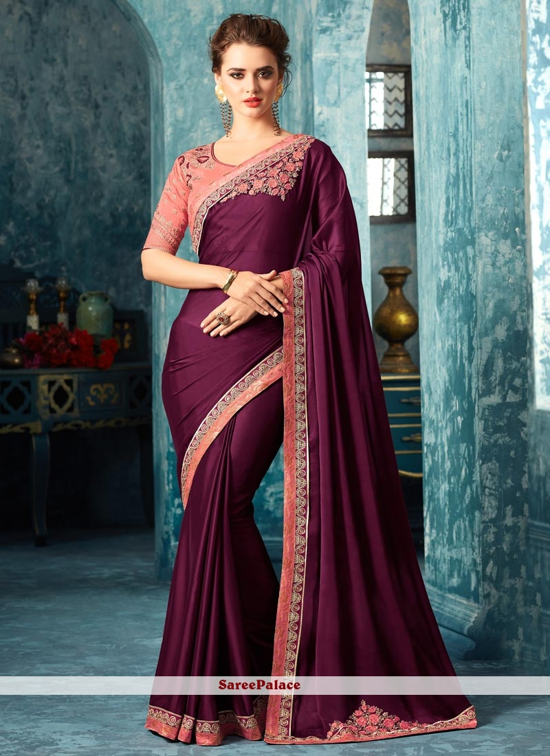 1fb7f1a66f Buy Hypnotic Patch Border Work Wine Satin Silk Traditional Designer Saree  Online
