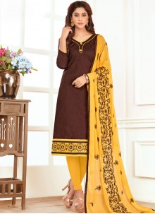 Hypnotizing Embroidered Work Cotton   Churidar Suit