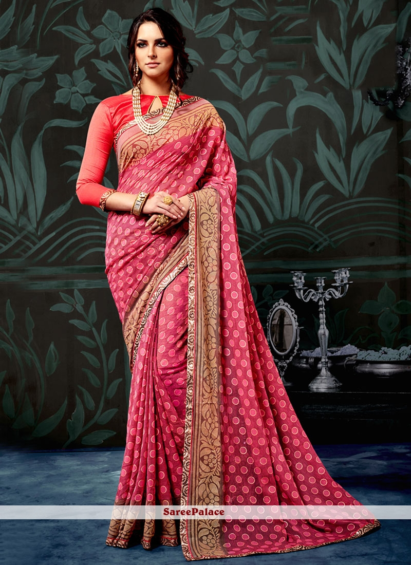 Hypnotizing Faux Chiffon Abstract Print Work Printed Saree